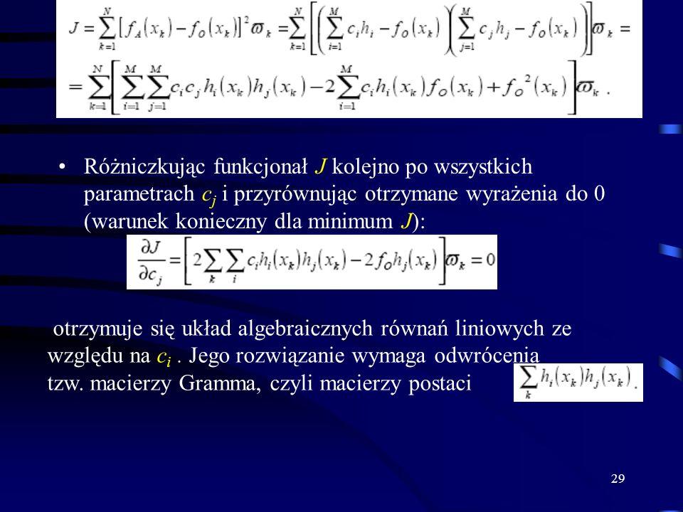 29 Różniczkując funkcjonał J kolejno po wszystkich parametrach c j i przyrównując otrzymane wyrażenia do 0 (warunek konieczny dla minimum J): otrzymuje się układ algebraicznych równań liniowych ze względu na c i.