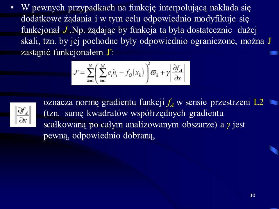 30 W pewnych przypadkach na funkcję interpolującą nakłada się dodatkowe żądania i w tym celu odpowiednio modyfikuje się funkcjonał J.Np.