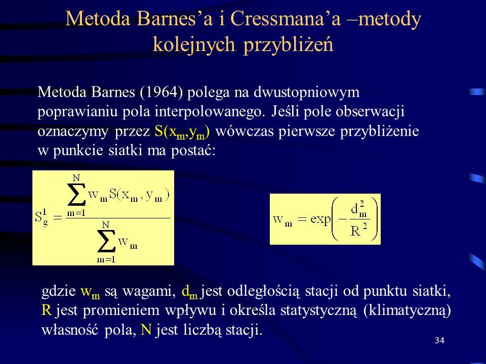 34 Metoda Barnesa i Cressmanaa –metody kolejnych przybliżeń Metoda Barnes (1964) polega na dwustopniowym poprawianiu pola interpolowanego.