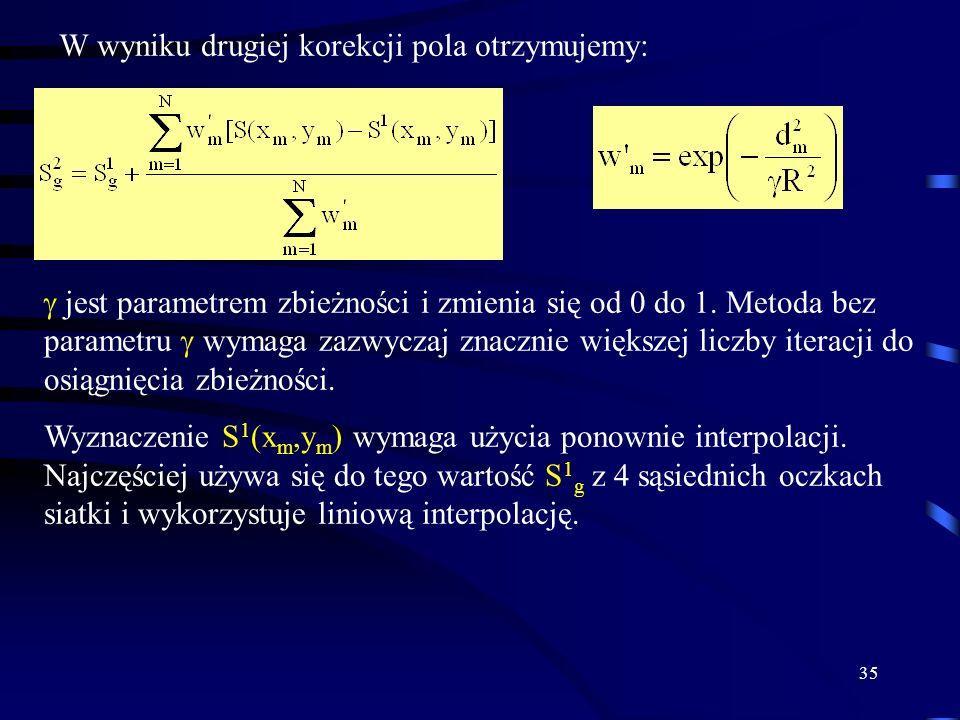 35 W wyniku drugiej korekcji pola otrzymujemy: jest parametrem zbieżności i zmienia się od 0 do 1.