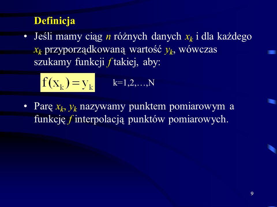 9 Definicja Jeśli mamy ciąg n różnych danych x k i dla każdego x k przyporządkowaną wartość y k, wówczas szukamy funkcji f takiej, aby: Parę x k, y k nazywamy punktem pomiarowym a funkcję f interpolacją punktów pomiarowych.