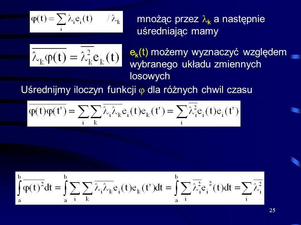 25 mnożąc przez k a następnie uśredniając mamy e k (t) możemy wyznaczyć względem wybranego układu zmiennych losowych Uśrednijmy iloczyn funkcji dla ró