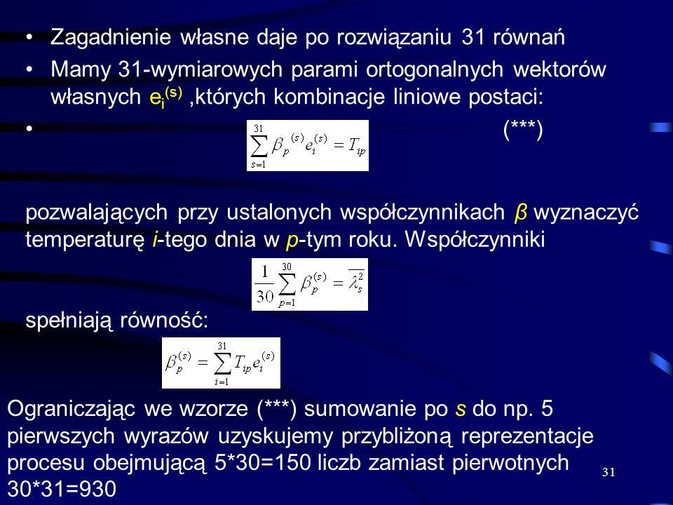 31 Zagadnienie własne daje po rozwiązaniu 31 równań Mamy 31-wymiarowych parami ortogonalnych wektorów własnych e i (s),których kombinacje liniowe post