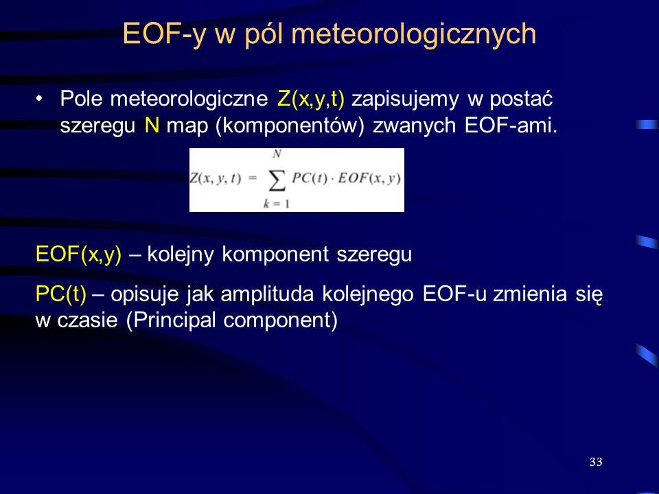33 EOF-y w pól meteorologicznych Pole meteorologiczne Z(x,y,t) zapisujemy w postać szeregu N map (komponentów) zwanych EOF-ami. EOF(x,y) – kolejny kom
