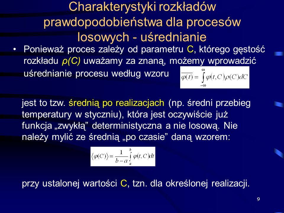 9 Charakterystyki rozkładów prawdopodobieństwa dla procesów losowych - uśrednianie Ponieważ proces zależy od parametru C, którego gęstość rozkładu ρ(C