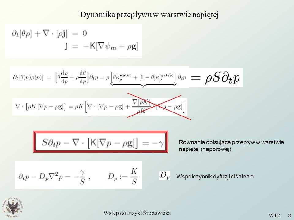 Wstęp do Fizyki Środowiska W12 8 Dynamika przepływu w warstwie napiętej Równanie opisujące przepływ w warstwie napiętej (naporowej) Współczynnik dyfuz