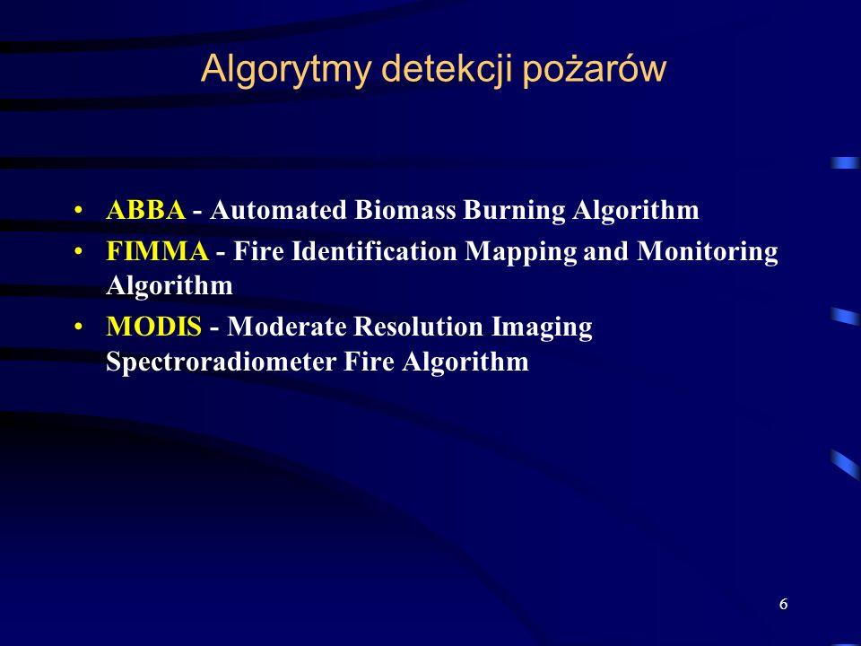 Multi-spectral Fire Detection from a Geostationary Platform: Development of the GOES Automated Biomass Burning Algorithm (ABBA) Algorytm skonstruowany dla danych pochodzących z satelity geostacjonarnego GOES.