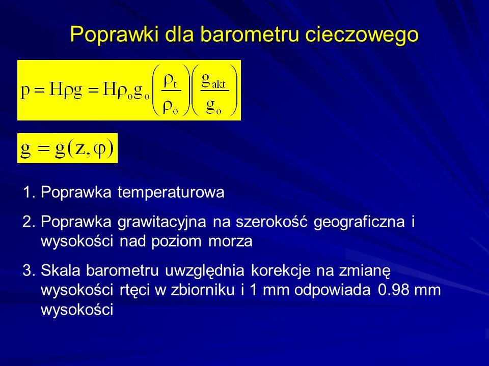 Poprawki dla barometru cieczowego 1.Poprawka temperaturowa 2.Poprawka grawitacyjna na szerokość geograficzna i wysokości nad poziom morza 3.Skala baro
