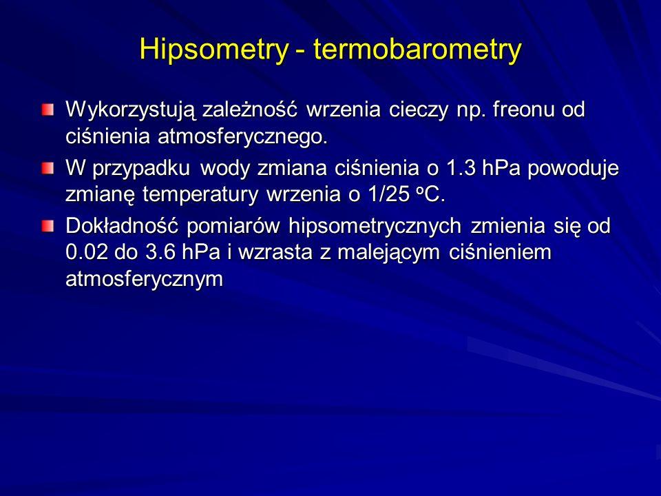 Hipsometry - termobarometry Wykorzystują zależność wrzenia cieczy np. freonu od ciśnienia atmosferycznego. W przypadku wody zmiana ciśnienia o 1.3 hPa