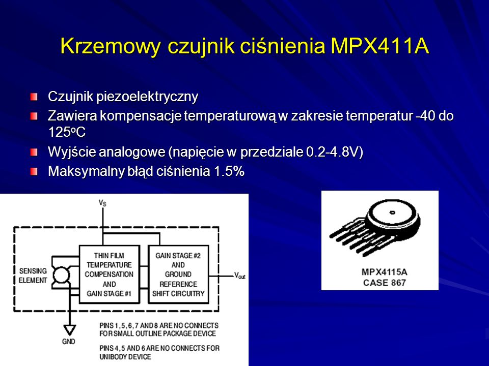 Krzemowy czujnik ciśnienia MPX411A Czujnik piezoelektryczny Zawiera kompensacje temperaturową w zakresie temperatur -40 do 125 o C Wyjście analogowe (