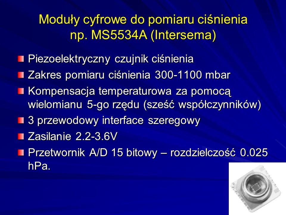 Moduły cyfrowe do pomiaru ciśnienia np. MS5534A (Intersema) Piezoelektryczny czujnik ciśnienia Zakres pomiaru ciśnienia 300-1100 mbar Kompensacja temp