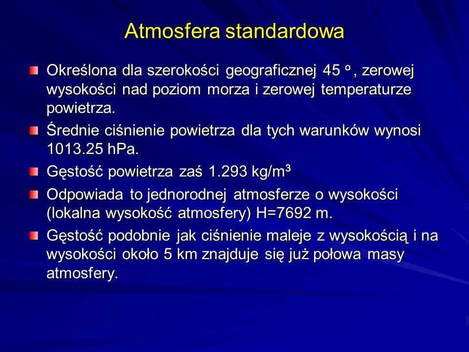 Atmosfera standardowa Określona dla szerokości geograficznej 45 o, zerowej wysokości nad poziom morza i zerowej temperaturze powietrza. Średnie ciśnie