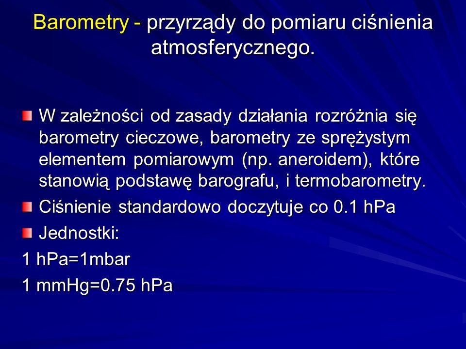 Hipsometry - termobarometry Wykorzystują zależność wrzenia cieczy np.