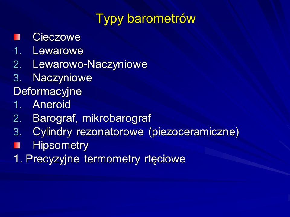 Typy barometrów Cieczowe 1. Lewarowe 2. Lewarowo-Naczyniowe 3. Naczyniowe Deformacyjne 1. Aneroid 2. Barograf, mikrobarograf 3. Cylindry rezonatorowe