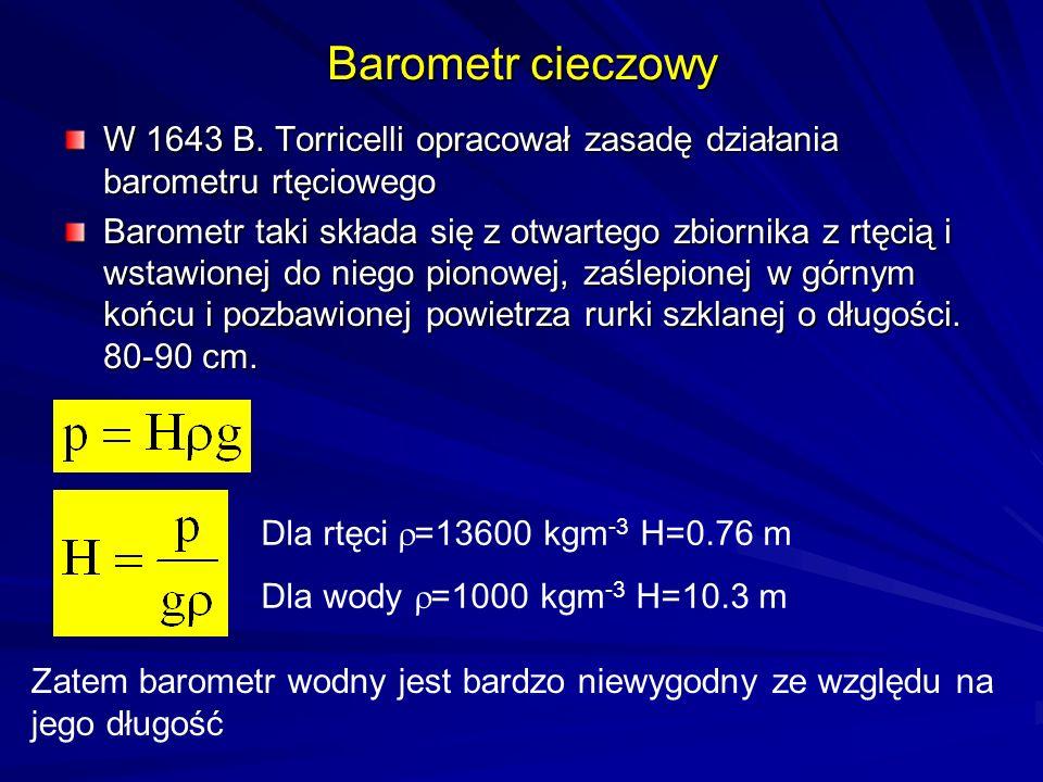 Barometr cieczowy W 1643 B. Torricelli opracował zasadę działania barometru rtęciowego Barometr taki składa się z otwartego zbiornika z rtęcią i wstaw