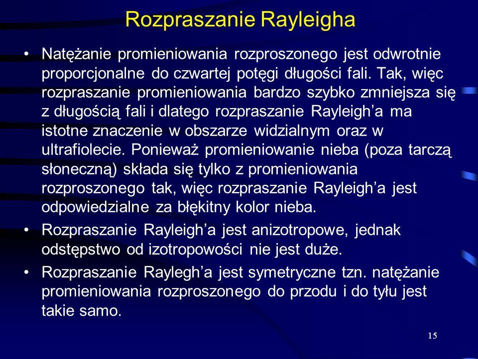 Rozpraszanie Rayleigha Natężanie promieniowania rozproszonego jest odwrotnie proporcjonalne do czwartej potęgi długości fali. Tak, więc rozpraszanie p
