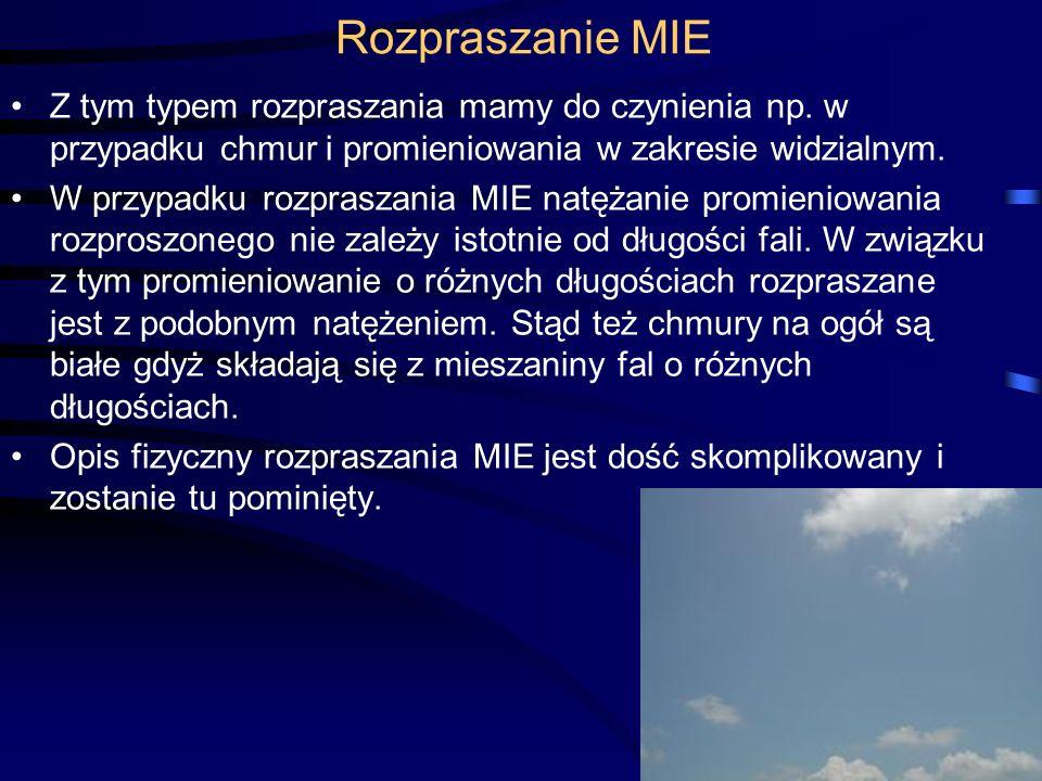 Rozpraszanie MIE Z tym typem rozpraszania mamy do czynienia np. w przypadku chmur i promieniowania w zakresie widzialnym. W przypadku rozpraszania MIE