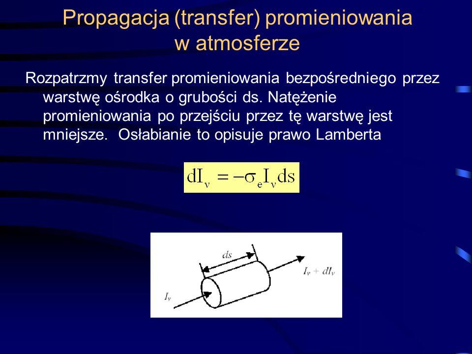 Propagacja (transfer) promieniowania w atmosferze Rozpatrzmy transfer promieniowania bezpośredniego przez warstwę ośrodka o grubości ds. Natężenie pro