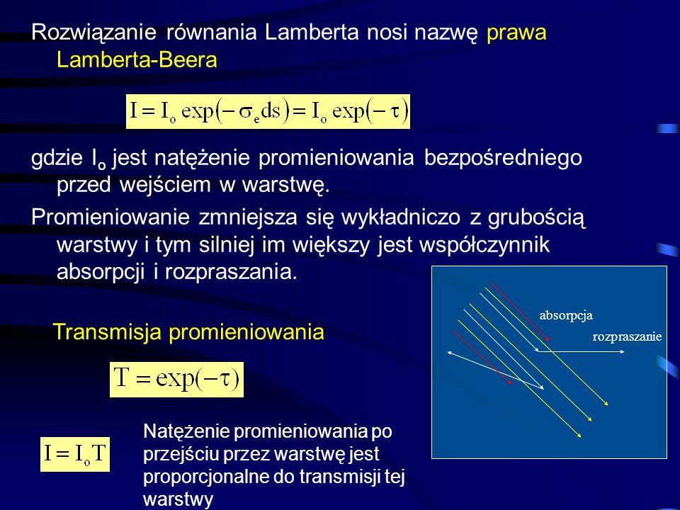 Rozwiązanie równania Lamberta nosi nazwę prawa Lamberta-Beera gdzie I o jest natężenie promieniowania bezpośredniego przed wejściem w warstwę. Promien