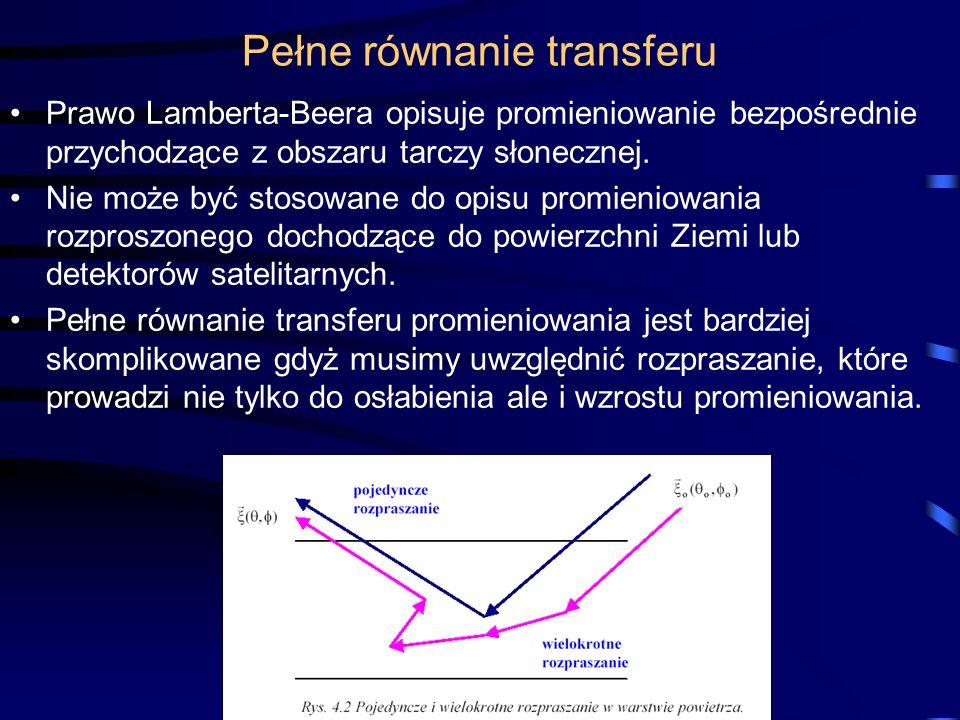 Pełne równanie transferu Prawo Lamberta-Beera opisuje promieniowanie bezpośrednie przychodzące z obszaru tarczy słonecznej. Nie może być stosowane do