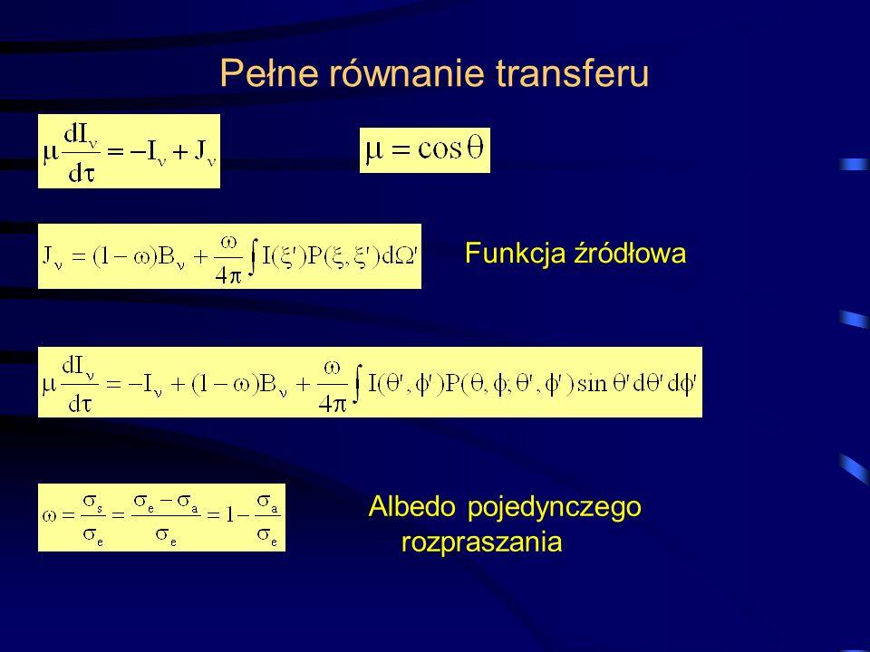 Pełne równanie transferu Funkcja źródłowa Albedo pojedynczego rozpraszania