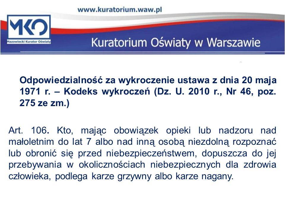 Odpowiedzialność za wykroczenie ustawa z dnia 20 maja 1971 r. – Kodeks wykroczeń (Dz. U. 2010 r., Nr 46, poz. 275 ze zm.) Art. 106. Kto, mając obowiąz