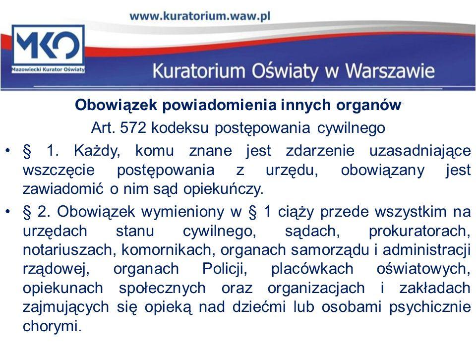 Obowiązek powiadomienia innych organów Art. 572 kodeksu postępowania cywilnego § 1. Każdy, komu znane jest zdarzenie uzasadniające wszczęcie postępowa