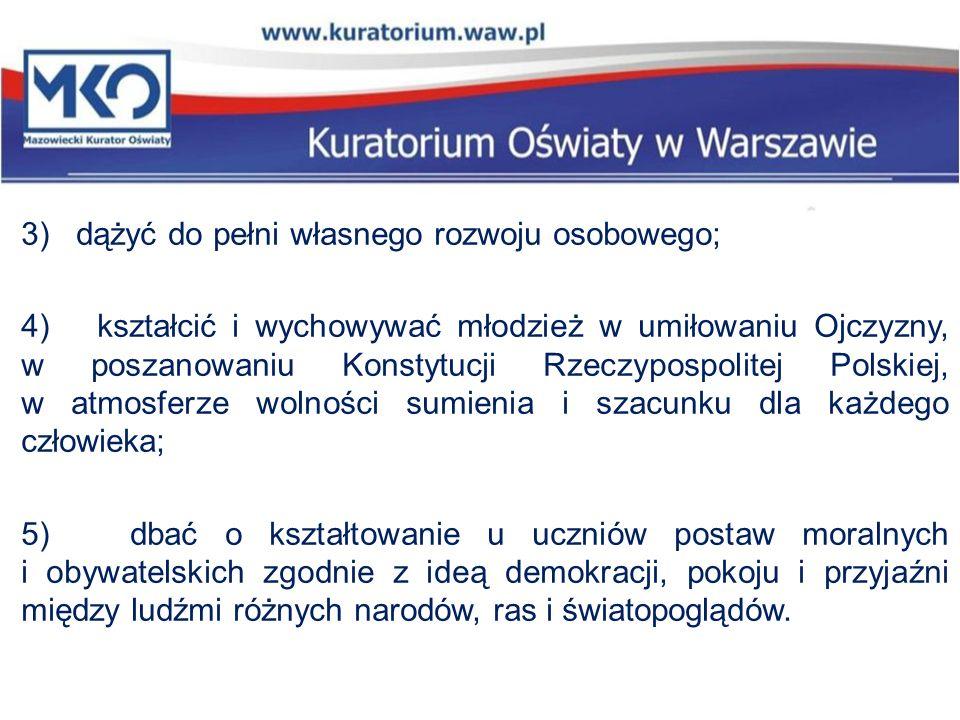 3) dążyć do pełni własnego rozwoju osobowego; 4) kształcić i wychowywać młodzież w umiłowaniu Ojczyzny, w poszanowaniu Konstytucji Rzeczypospolitej Po