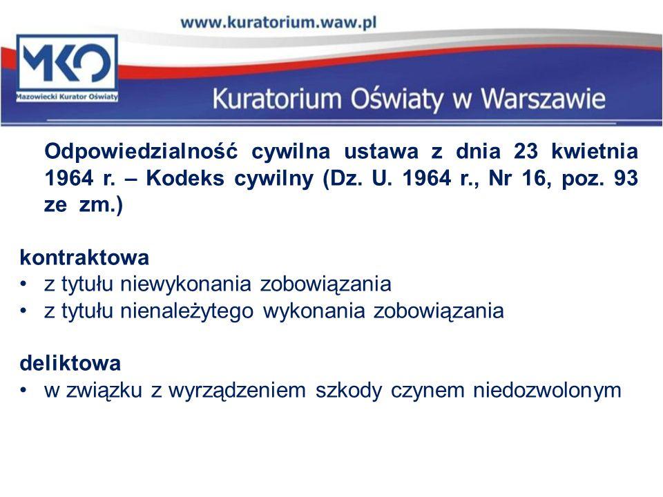 Odpowiedzialność cywilna ustawa z dnia 23 kwietnia 1964 r. – Kodeks cywilny (Dz. U. 1964 r., Nr 16, poz. 93 ze zm.) kontraktowa z tytułu niewykonania