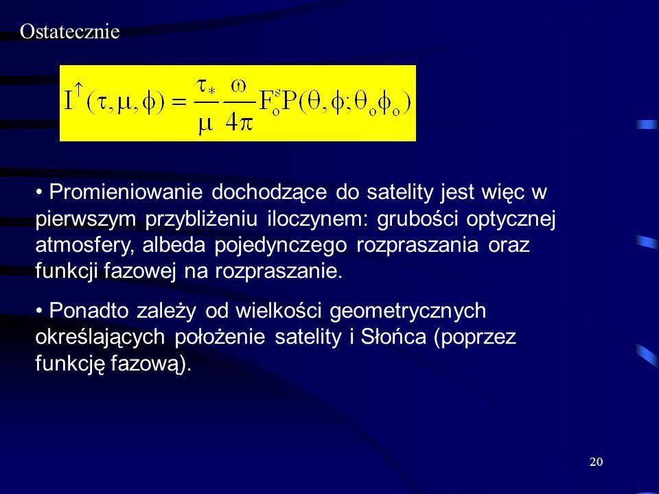 20 Ostatecznie Promieniowanie dochodzące do satelity jest więc w pierwszym przybliżeniu iloczynem: grubości optycznej atmosfery, albeda pojedynczego r
