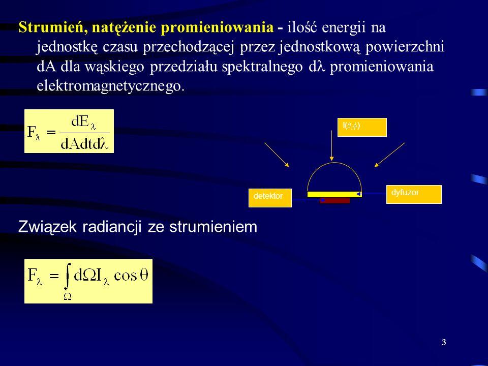 4 Promieniowanie ciała doskonale czarnego Ciało doskonale czarne - to ciało fizyczne, które pochłania całkowicie padające na niego promieniowanie oraz emituje energie zgodnie równowadze prawem Plancka: h=6.626x10 -34 Js, k=1.3806x10 -23 J/K Prawo Stefana-Boltzmanna =5.67x10-8 Wm -2 K -4