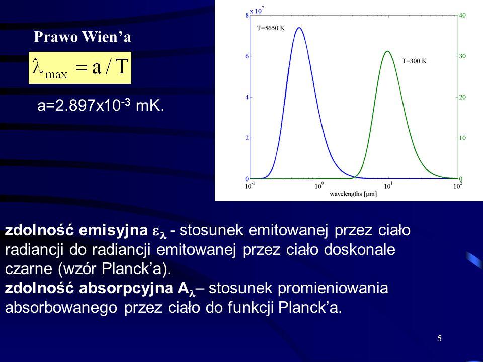 5 Prawo Wiena a=2.897x10 -3 mK. zdolność emisyjna - stosunek emitowanej przez ciało radiancji do radiancji emitowanej przez ciało doskonale czarne (wz