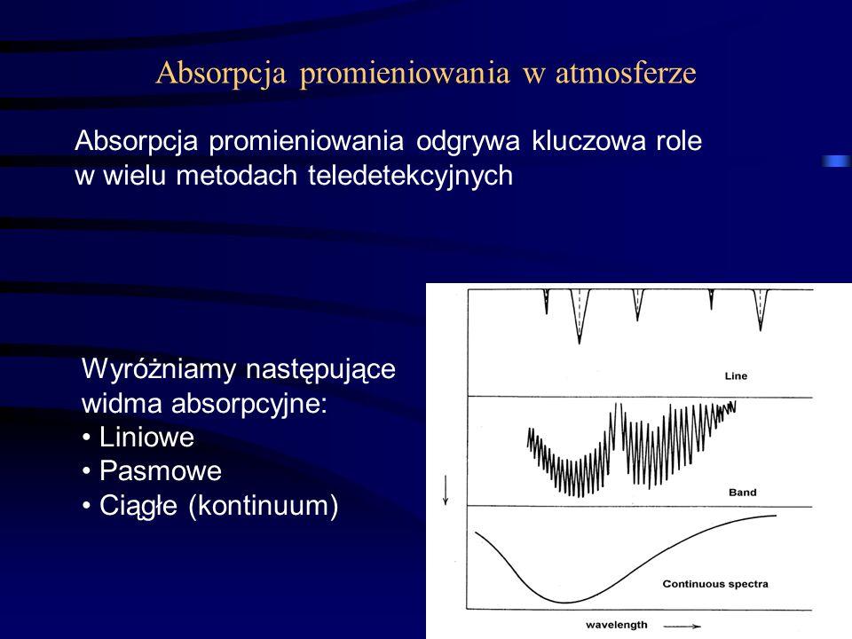 9 Absorpcja promieniowania w atmosferze Absorpcja promieniowania odgrywa kluczowa role w wielu metodach teledetekcyjnych Wyróżniamy następujące widma