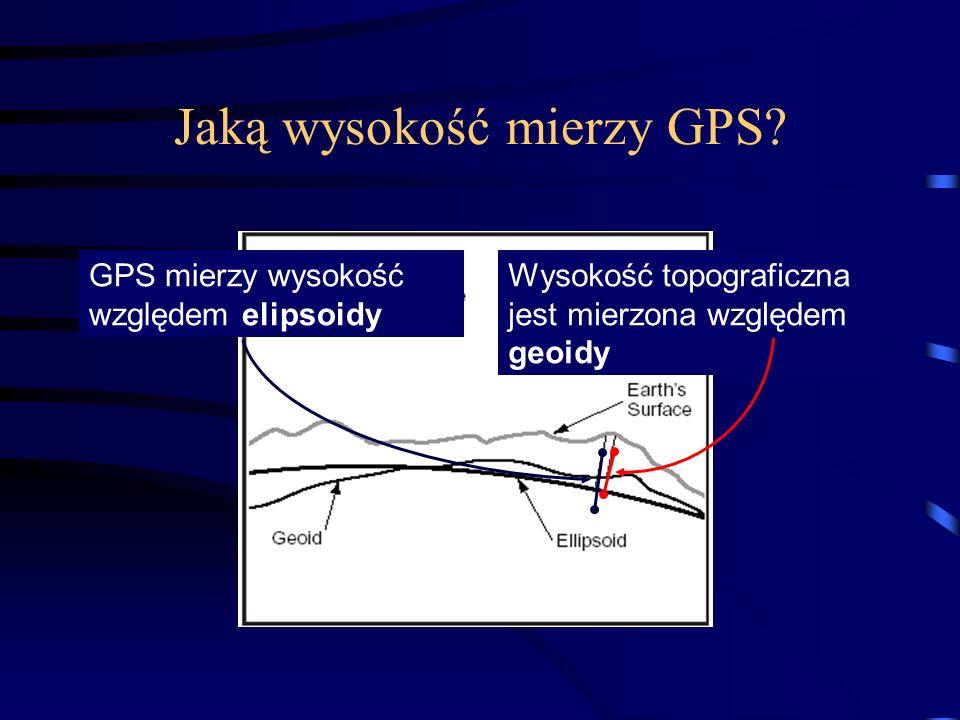 Jaką wysokość mierzy GPS? GPS mierzy wysokość względem elipsoidy Wysokość topograficzna jest mierzona względem geoidy