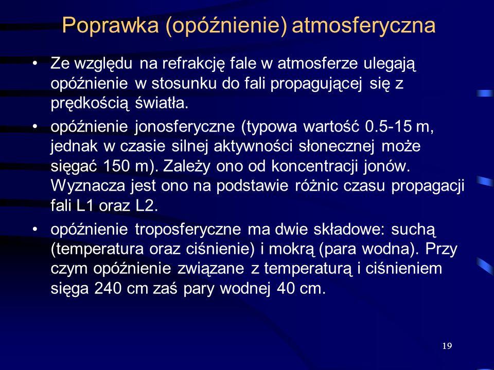 Poprawka (opóźnienie) atmosferyczna Ze względu na refrakcję fale w atmosferze ulegają opóźnienie w stosunku do fali propagującej się z prędkością świa