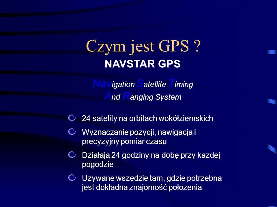 Czym jest GPS ? 24 satelity na orbitach wokółziemskich Wyznaczanie pozycji, nawigacja i precyzyjny pomiar czasu Działają 24 godziny na dobę przy każde