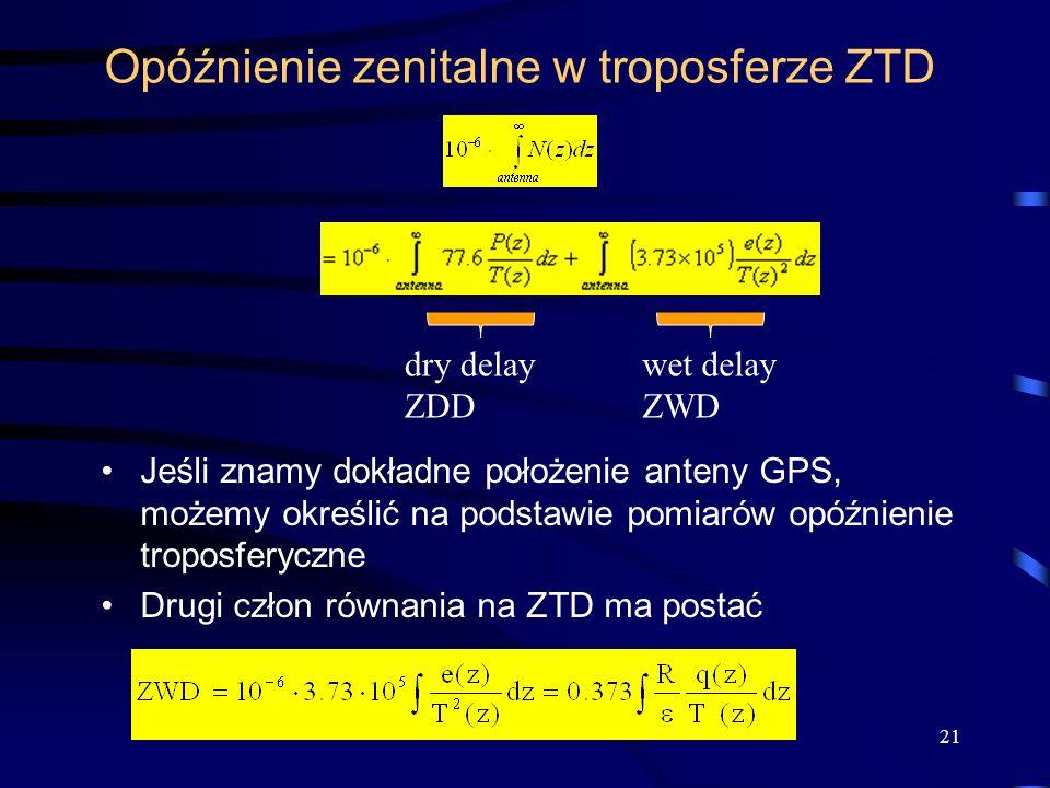 Opóźnienie zenitalne w troposferze ZTD Jeśli znamy dokładne położenie anteny GPS, możemy określić na podstawie pomiarów opóźnienie troposferyczne Drug