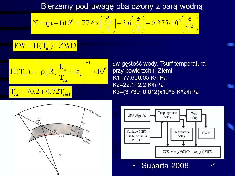 Suparta 2008 23 Bierzemy pod uwagę oba człony z parą wodną w gęstość wody, Tsurf temperatura przy powierzchni Ziemi K1=77.6 0.05 K/hPa K2=22.1 2.2 K/h