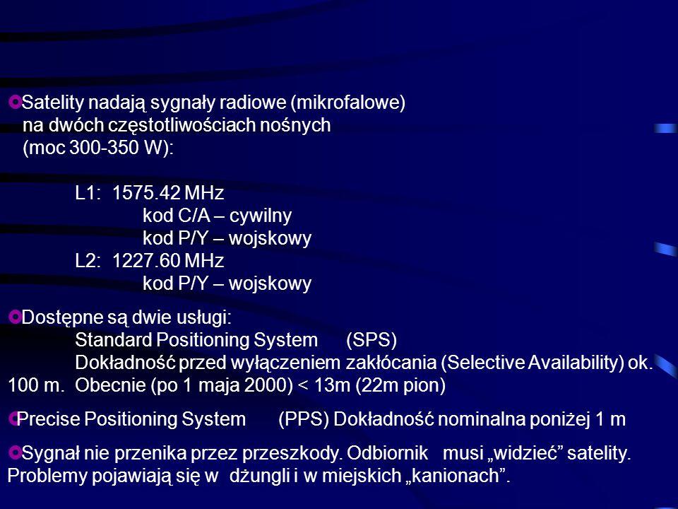Satelity nadają sygnały radiowe (mikrofalowe) na dwóch częstotliwościach nośnych (moc 300-350 W): L1: 1575.42 MHz kod C/A – cywilny kod P/Y – wojskowy