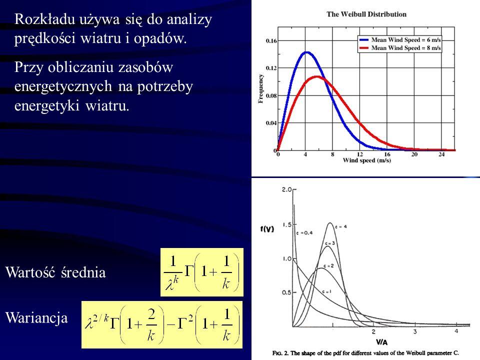 12 Wartość średnia Wariancja Rozkładu używa się do analizy prędkości wiatru i opadów. Przy obliczaniu zasobów energetycznych na potrzeby energetyki wi