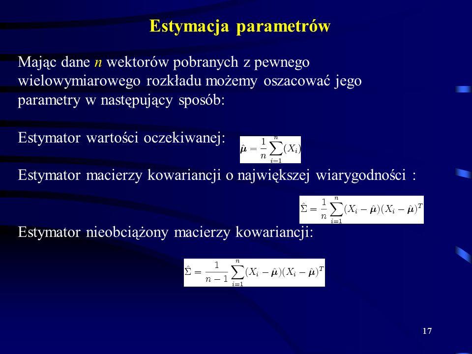 17 Estymacja parametrów Mając dane n wektorów pobranych z pewnego wielowymiarowego rozkładu możemy oszacować jego parametry w następujący sposób: Estymator wartości oczekiwanej: Estymator macierzy kowariancji o największej wiarygodności : Estymator nieobciążony macierzy kowariancji: