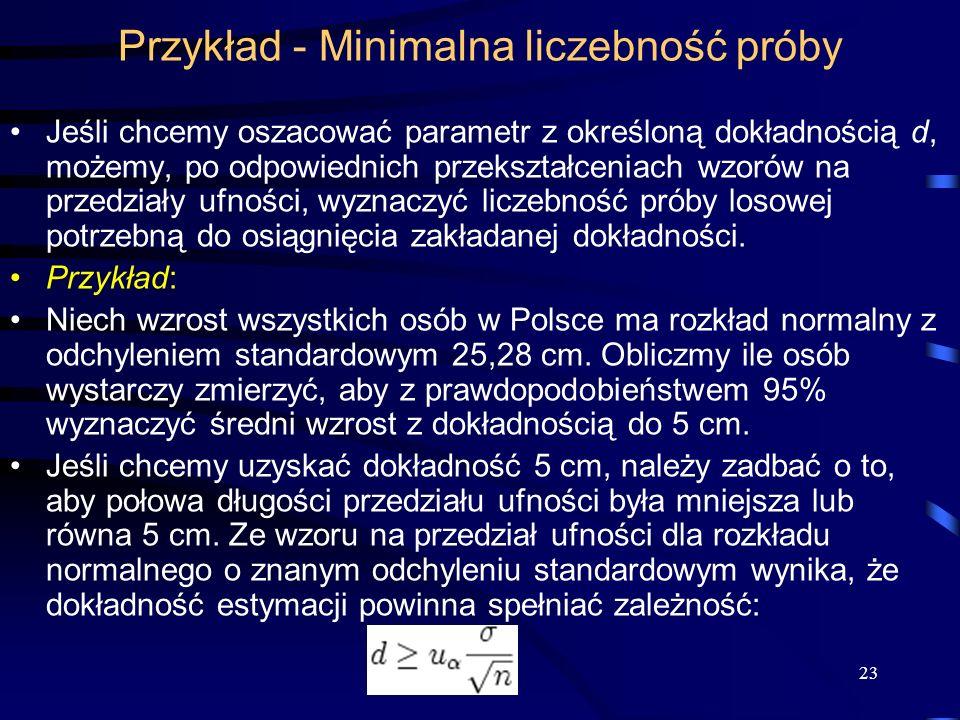 23 Przykład - Minimalna liczebność próby Jeśli chcemy oszacować parametr z określoną dokładnością d, możemy, po odpowiednich przekształceniach wzorów