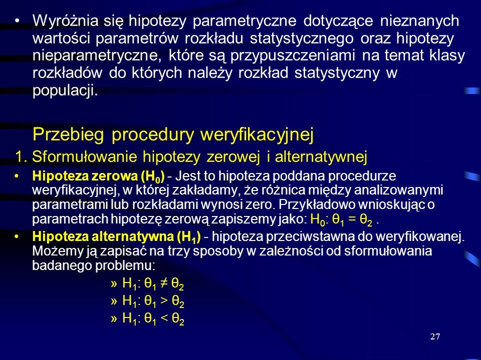 27 Wyróżnia się hipotezy parametryczne dotyczące nieznanych wartości parametrów rozkładu statystycznego oraz hipotezy nieparametryczne, które są przyp