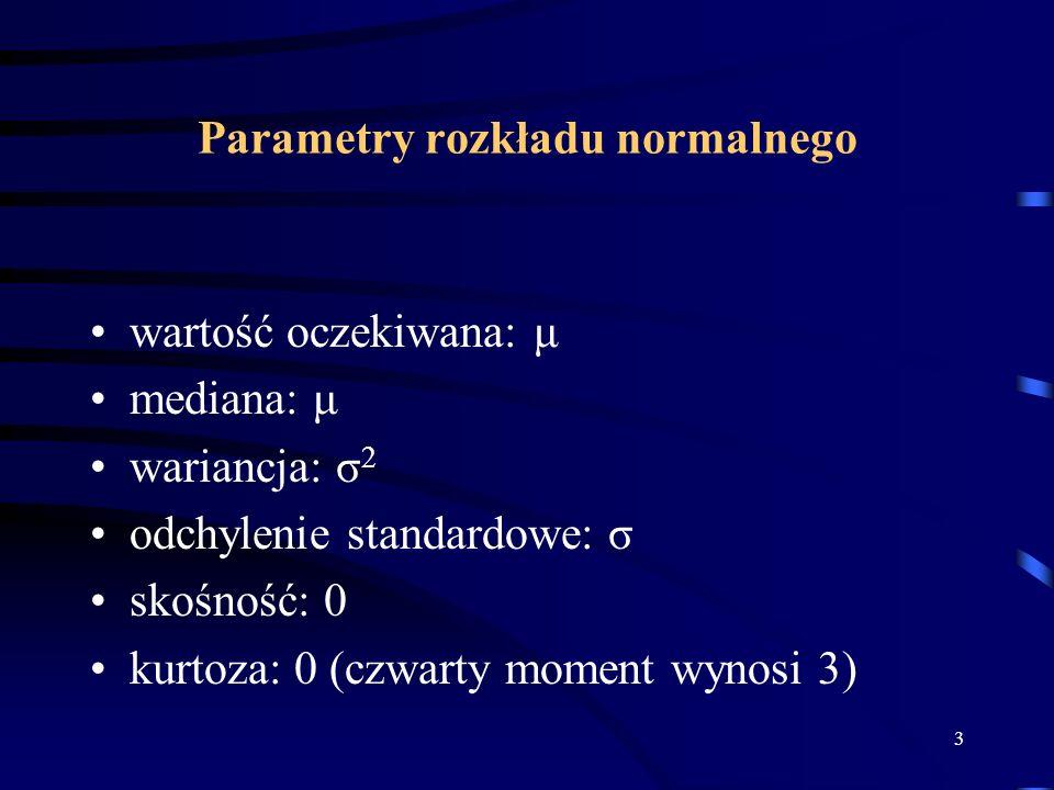 3 Parametry rozkładu normalnego wartość oczekiwana: μ mediana: μ wariancja: σ 2 odchylenie standardowe: σ skośność: 0 kurtoza: 0 (czwarty moment wynosi 3)