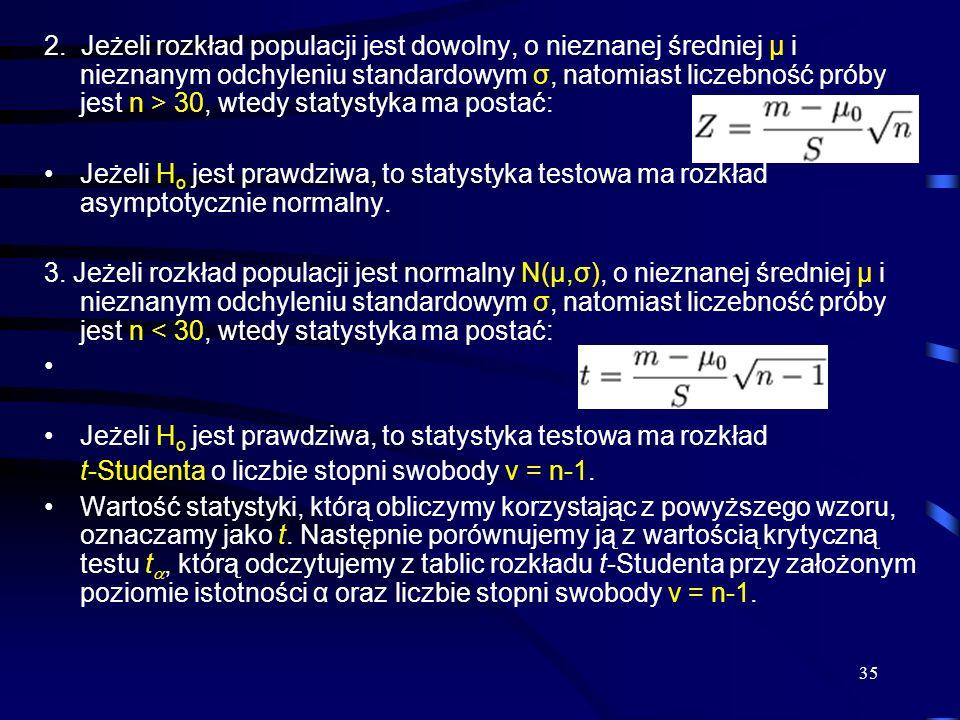 35 2. Jeżeli rozkład populacji jest dowolny, o nieznanej średniej μ i nieznanym odchyleniu standardowym σ, natomiast liczebność próby jest n > 30, wte