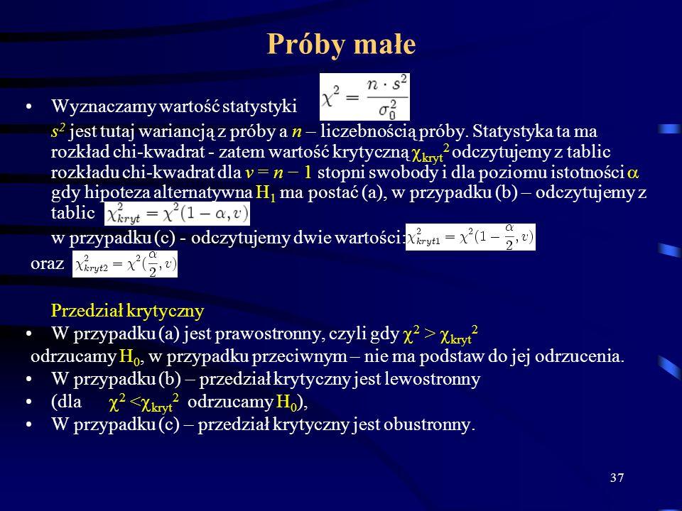 37 Próby małe Wyznaczamy wartość statystyki s 2 jest tutaj wariancją z próby a n – liczebnością próby. Statystyka ta ma rozkład chi-kwadrat - zatem wa