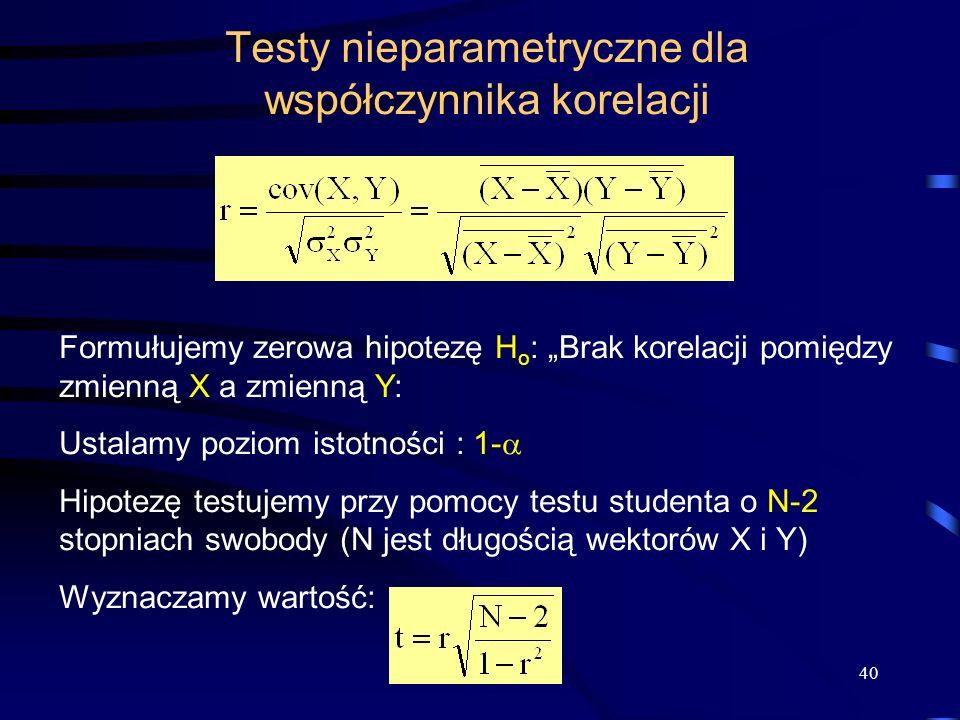 40 Testy nieparametryczne dla współczynnika korelacji Formułujemy zerowa hipotezę H o : Brak korelacji pomiędzy zmienną X a zmienną Y: Ustalamy poziom istotności : 1- Hipotezę testujemy przy pomocy testu studenta o N-2 stopniach swobody (N jest długością wektorów X i Y) Wyznaczamy wartość: