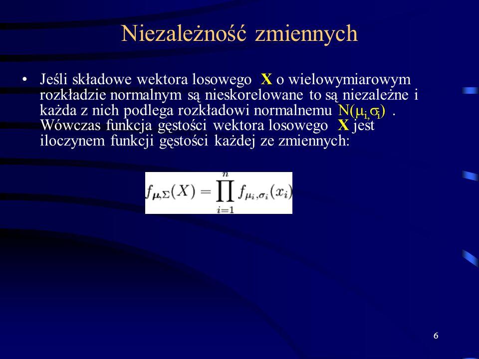 6 Niezależność zmiennych Jeśli składowe wektora losowego X o wielowymiarowym rozkładzie normalnym są nieskorelowane to są niezależne i każda z nich podlega rozkładowi normalnemu N( i, i ).