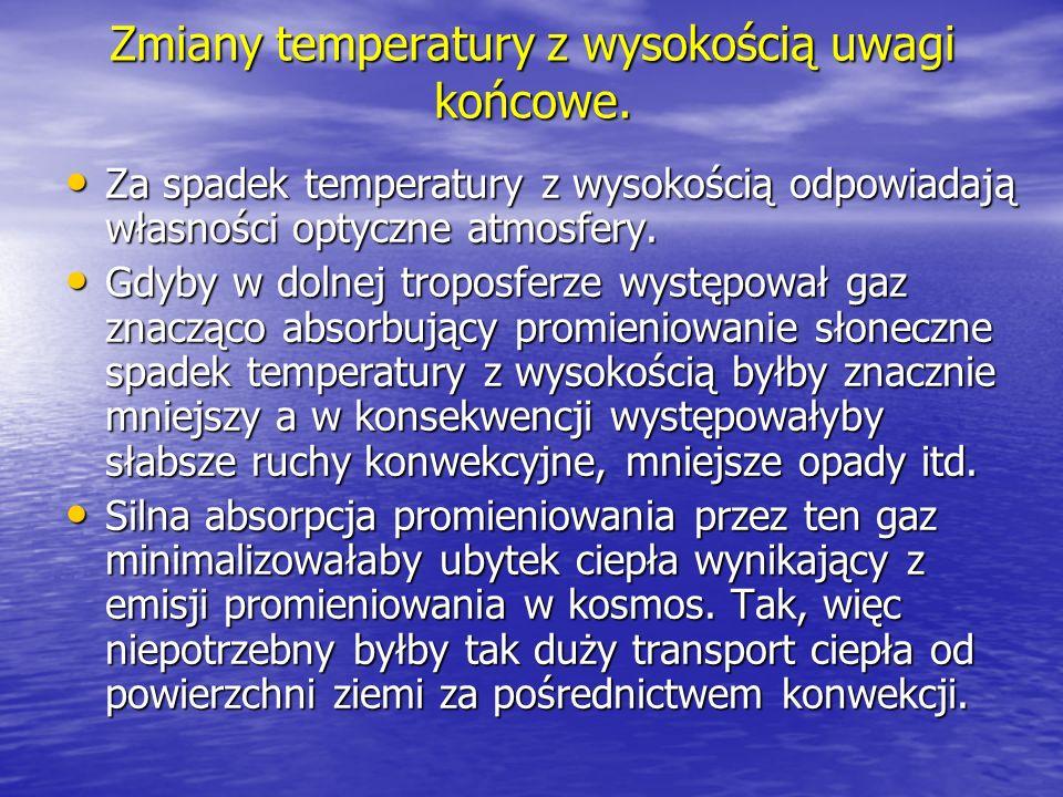 Zmiany temperatury z wysokością uwagi końcowe. Za spadek temperatury z wysokością odpowiadają własności optyczne atmosfery. Za spadek temperatury z wy