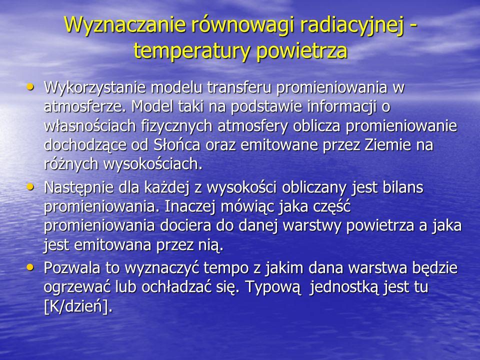 Wyznaczanie równowagi radiacyjnej - temperatury powietrza Wykorzystanie modelu transferu promieniowania w atmosferze. Model taki na podstawie informac